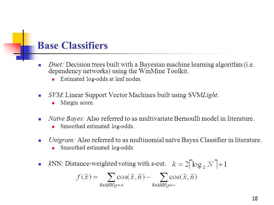 18 Base Classifiers Dnet: Decision trees built with a Bayesian machine learning algorithm (i.e.
