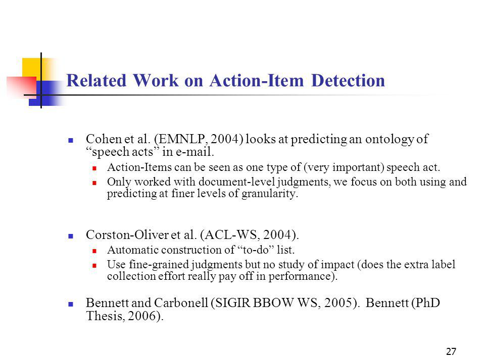 27 Related Work on Action-Item Detection Cohen et al.
