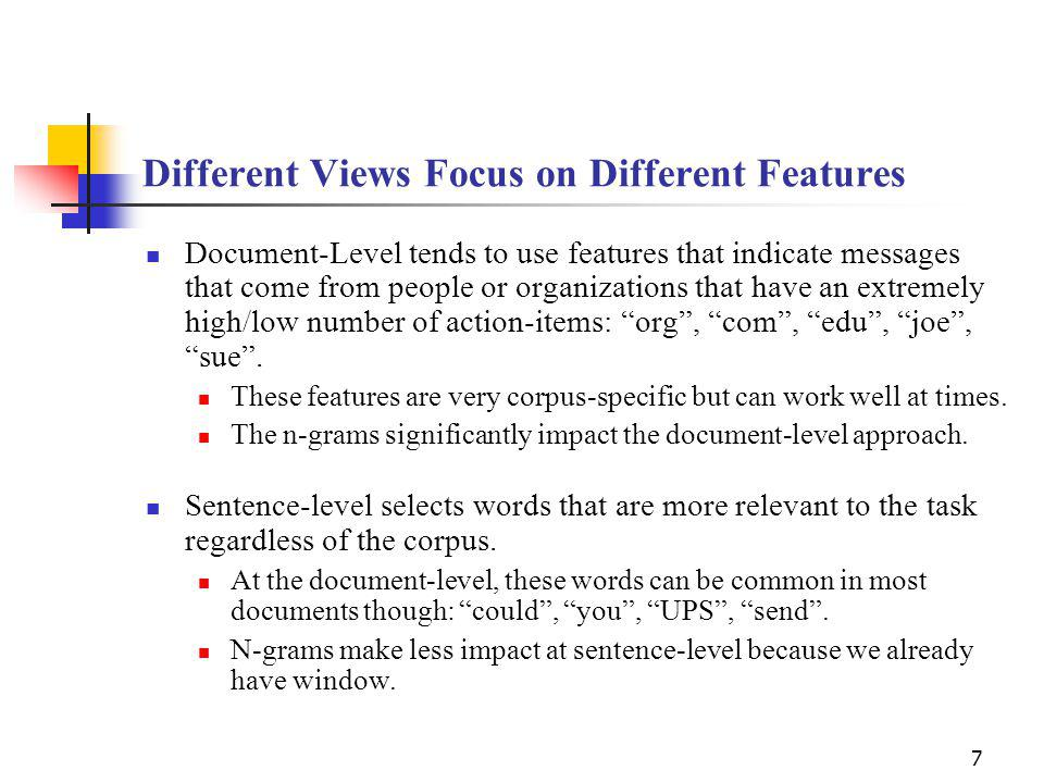 7 Different Views Focus on Different Features Document-Level tends to use features that indicate messages that come from people or organizations that have an extremely high/low number of action-items: org, com, edu, joe, sue.