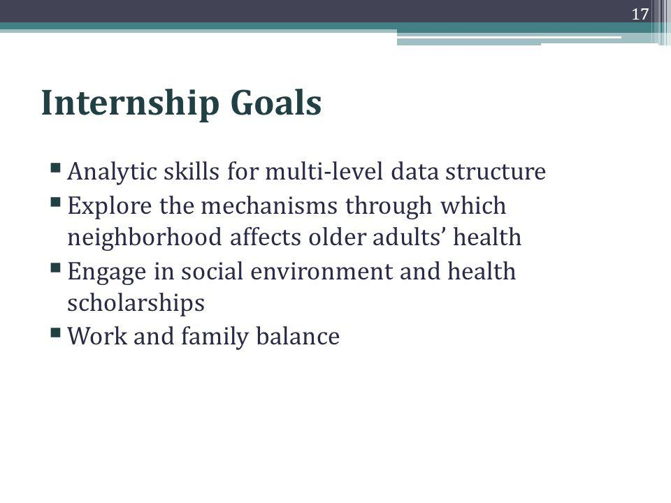 Internship Goals Analytic skills for multi-level data structure Explore the mechanisms through which neighborhood affects older adults health Engage in social environment and health scholarships Work and family balance 17