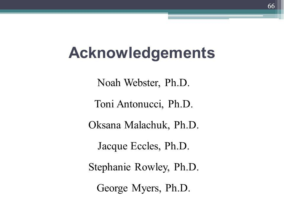 Acknowledgements Noah Webster, Ph.D. Toni Antonucci, Ph.D.