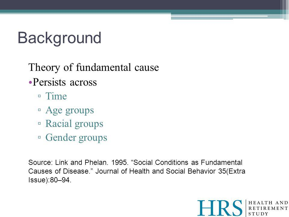 Background Theory of fundamental cause Persists across Time Age groups Racial groups Gender groups Source: Link and Phelan.