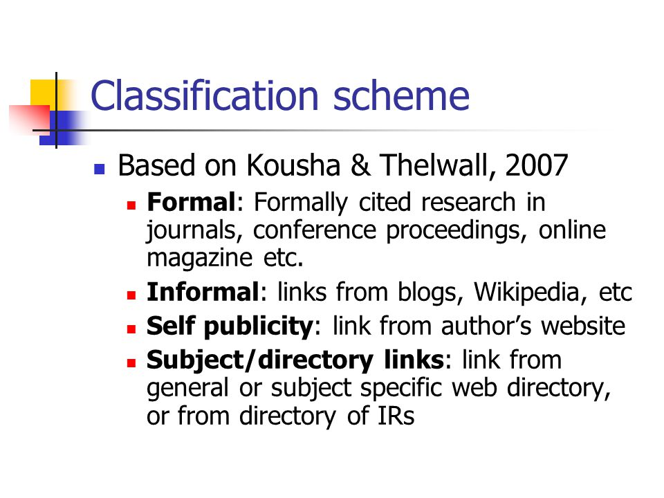 Classification scheme Based on Kousha & Thelwall, 2007 Formal: Formally cited research in journals, conference proceedings, online magazine etc.