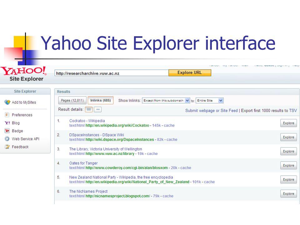 Yahoo Site Explorer interface