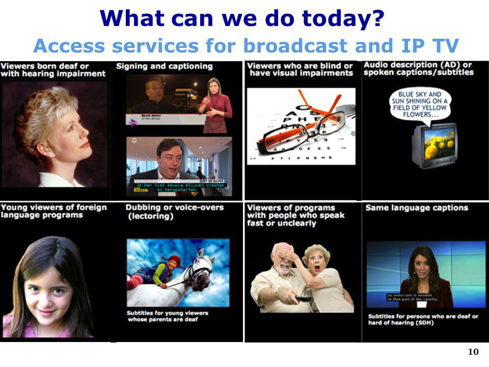 10 What can we do today? Access services for broadcast and IP TV