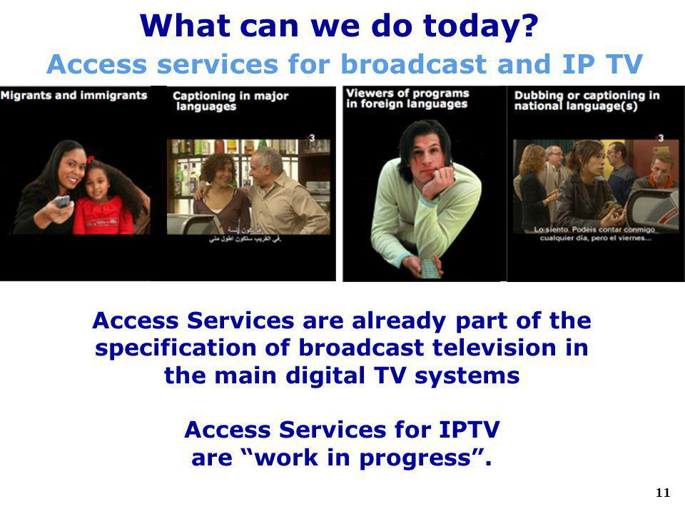 11 What can we do today? Access services for broadcast and IP TV Access Services are already part of the specification of broadcast television in the