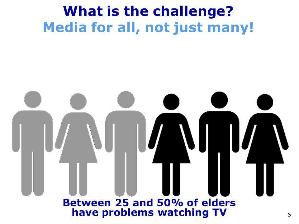 5 What is the challenge? Media for all, not just many! Between 25 and 50% of elders have problems watching TV 5