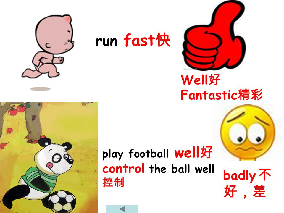 run fast Well Fantastic play football well control the ball well badly