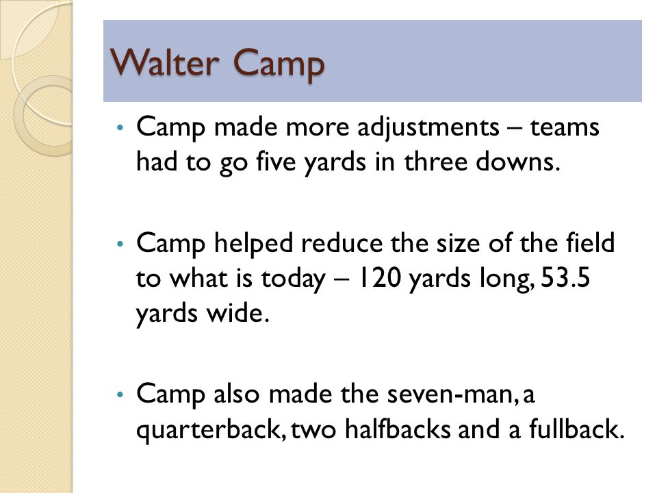 Walter Camp Camp made more adjustments – teams had to go five yards in three downs.