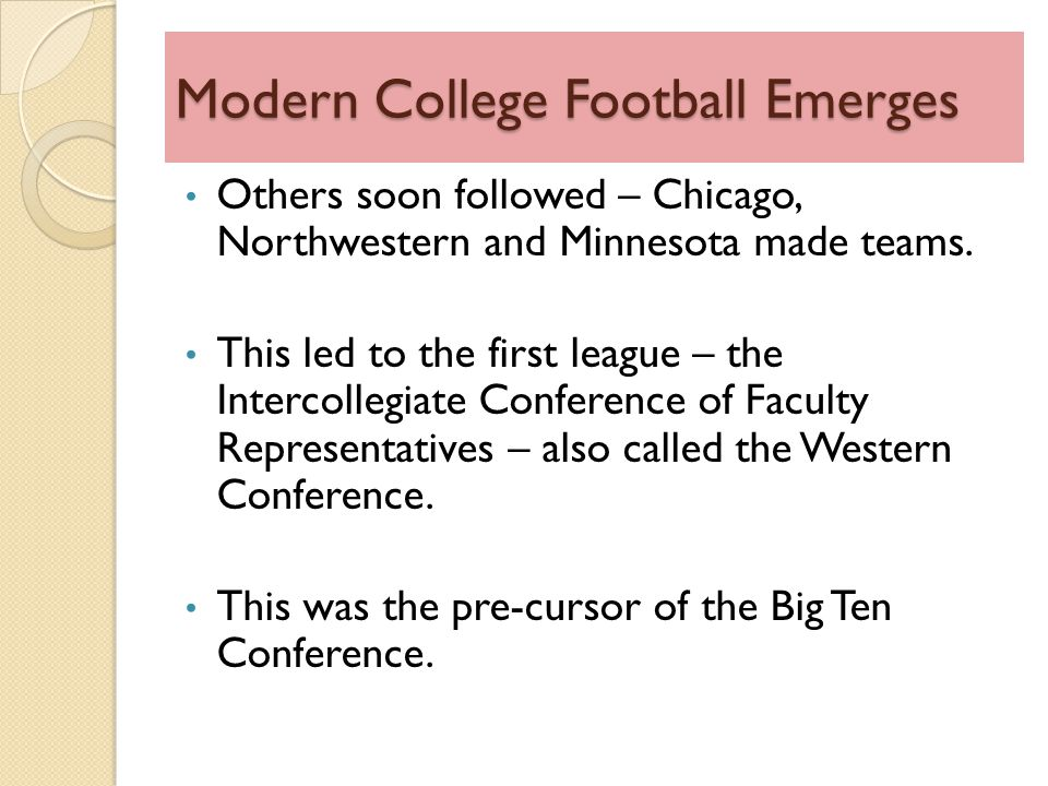 Modern College Football Emerges Others soon followed – Chicago, Northwestern and Minnesota made teams.