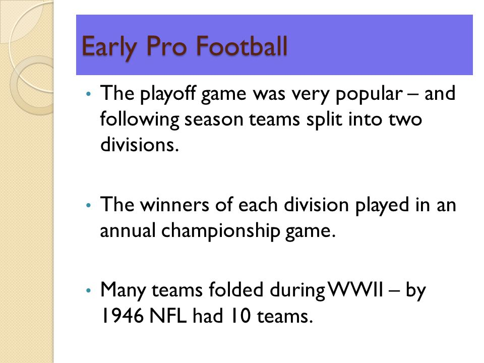 Early Pro Football The playoff game was very popular – and following season teams split into two divisions.