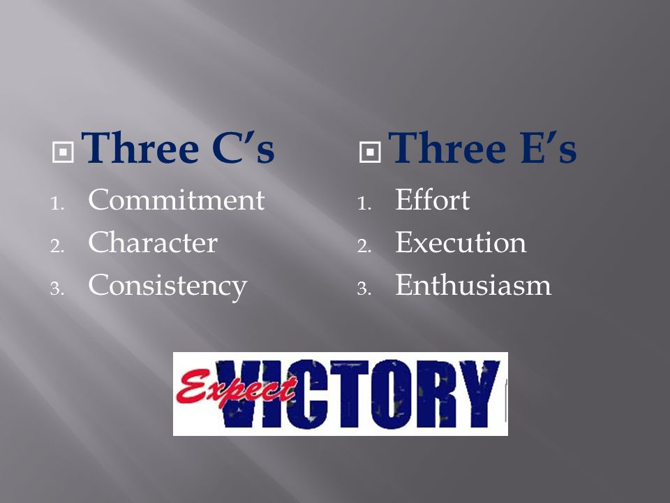 Three Cs 1. Commitment 2. Character 3. Consistency Three Es 1. Effort 2. Execution 3. Enthusiasm