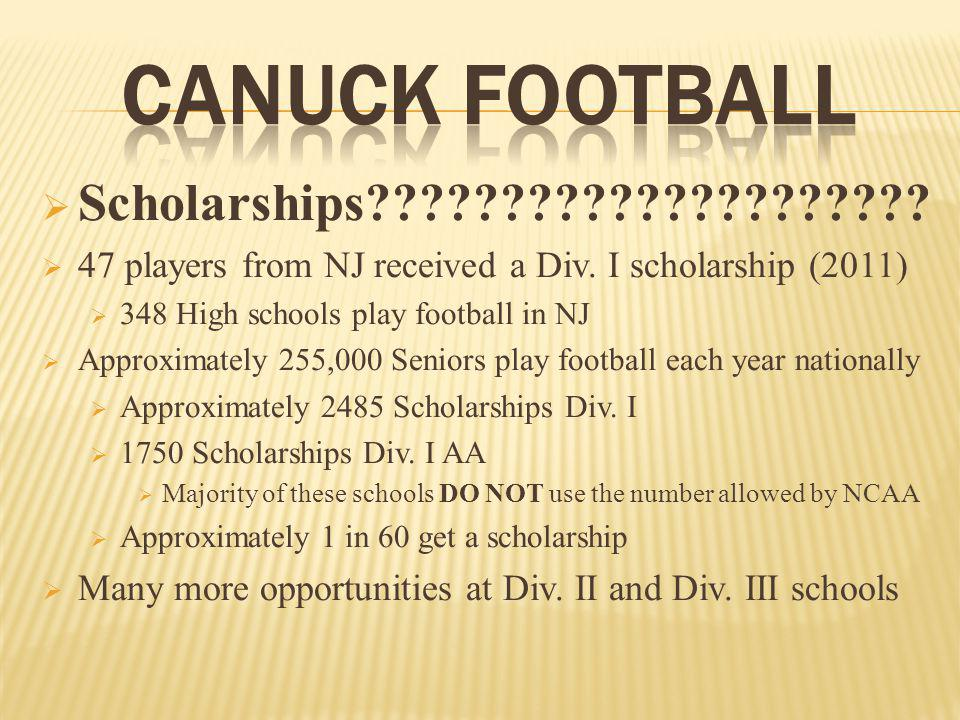 Scholarships????????????????????. 47 players from NJ received a Div.