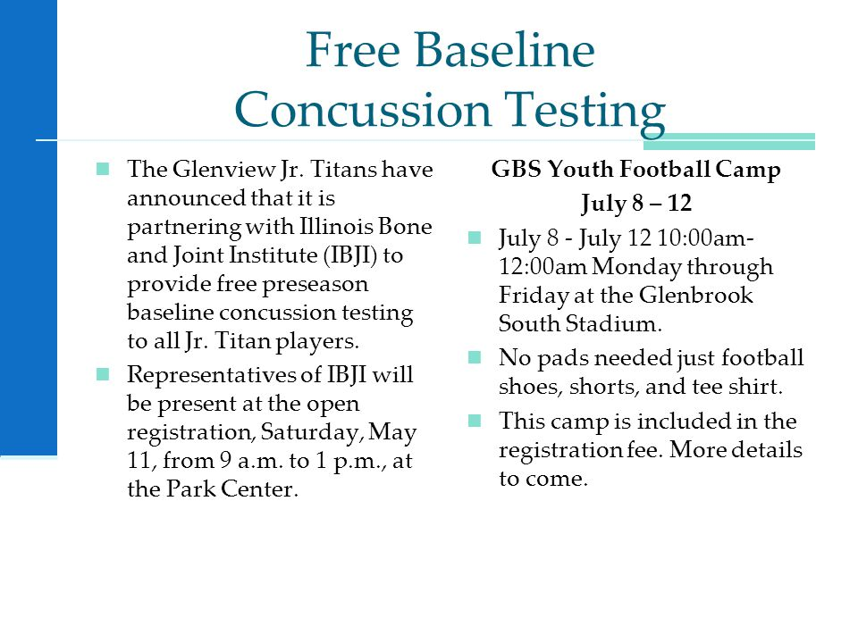 Free Baseline Concussion Testing The Glenview Jr.