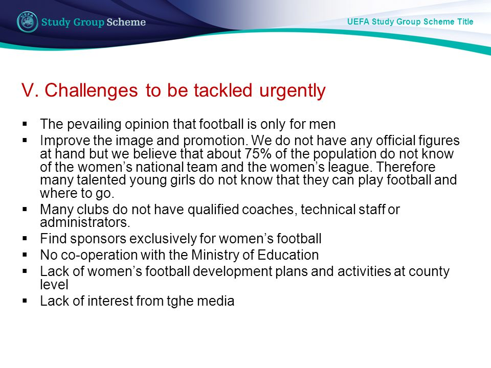 UEFA Study Group Scheme Title V.