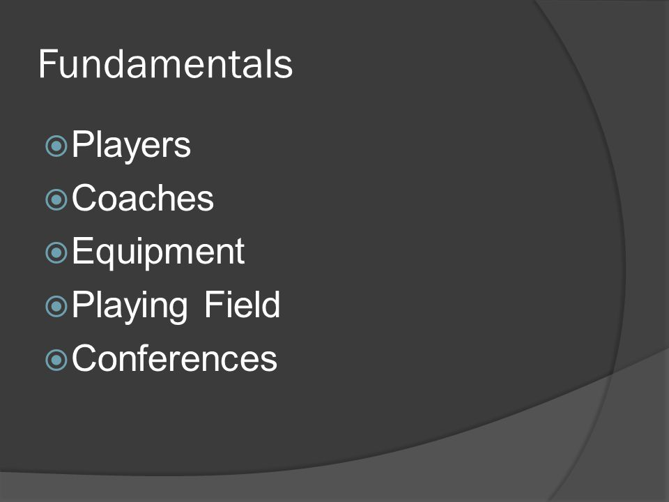 Fundamentals Players Coaches Equipment Playing Field Conferences