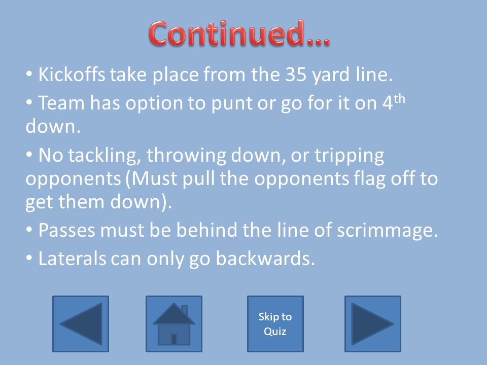 1.Failure to learn or abide by rules will costs your team points and yards.