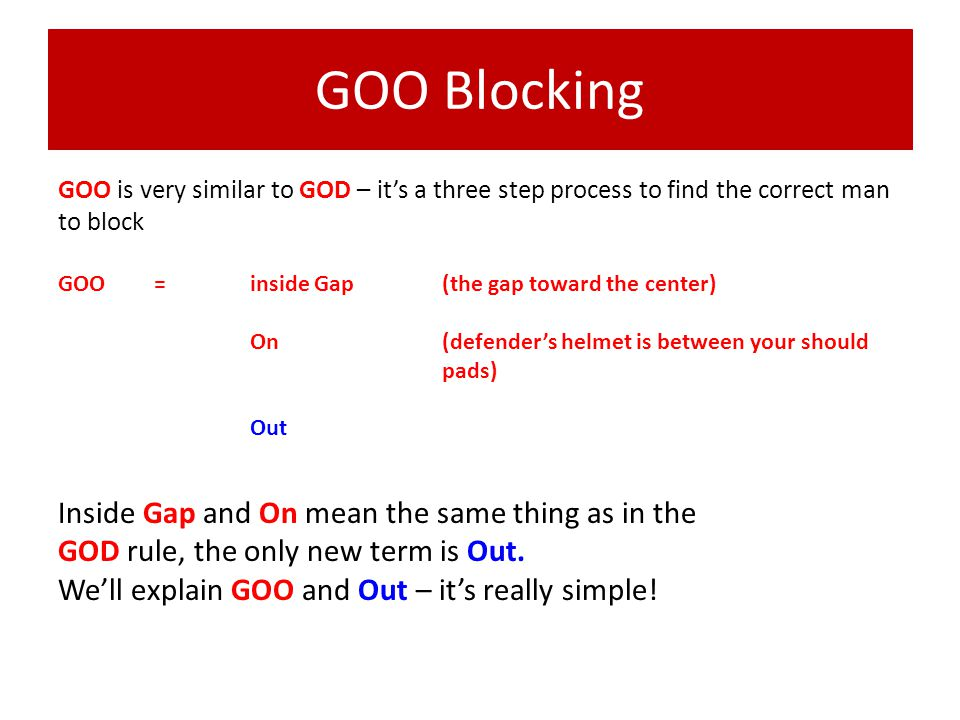 GOO Blocking GOO is very similar to GOD – its a three step process to find the correct man to block GOO=inside Gap(the gap toward the center) On(defen