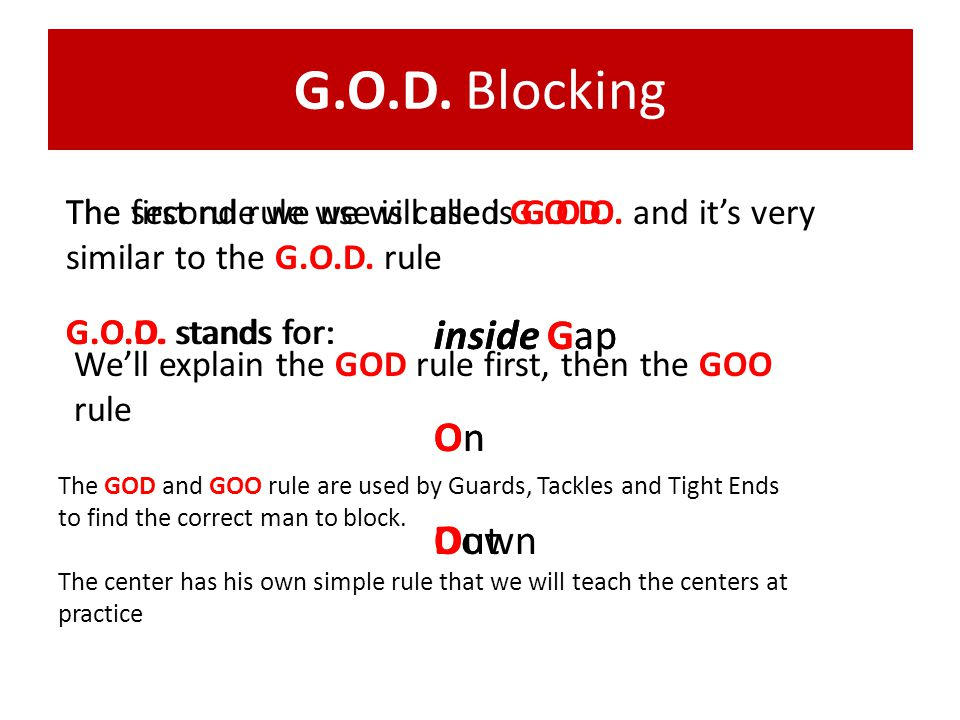 G.O.D. Blocking The first rule we use is called G.O.D. G.O.D. stands for: inside Gap On Down The second rule we will use is G.O.O. and its very simila