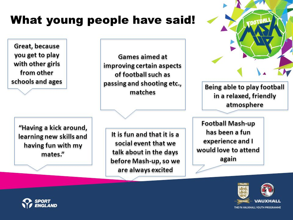What young people have said! Great, because you get to play with other girls from other schools and ages Football Mash-up has been a fun experience an
