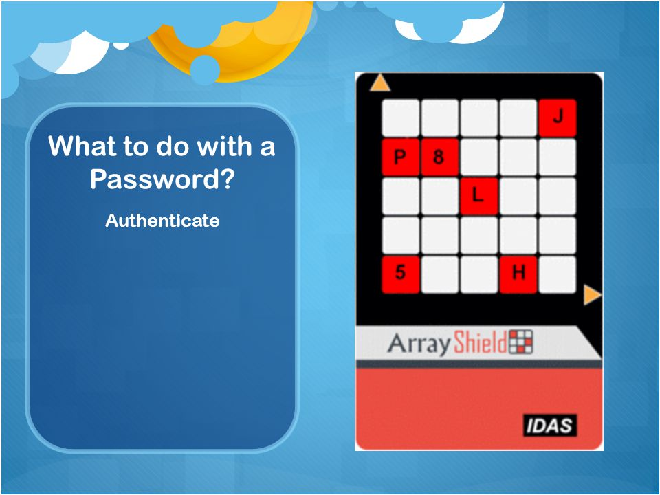What to do with a Password Authenticate