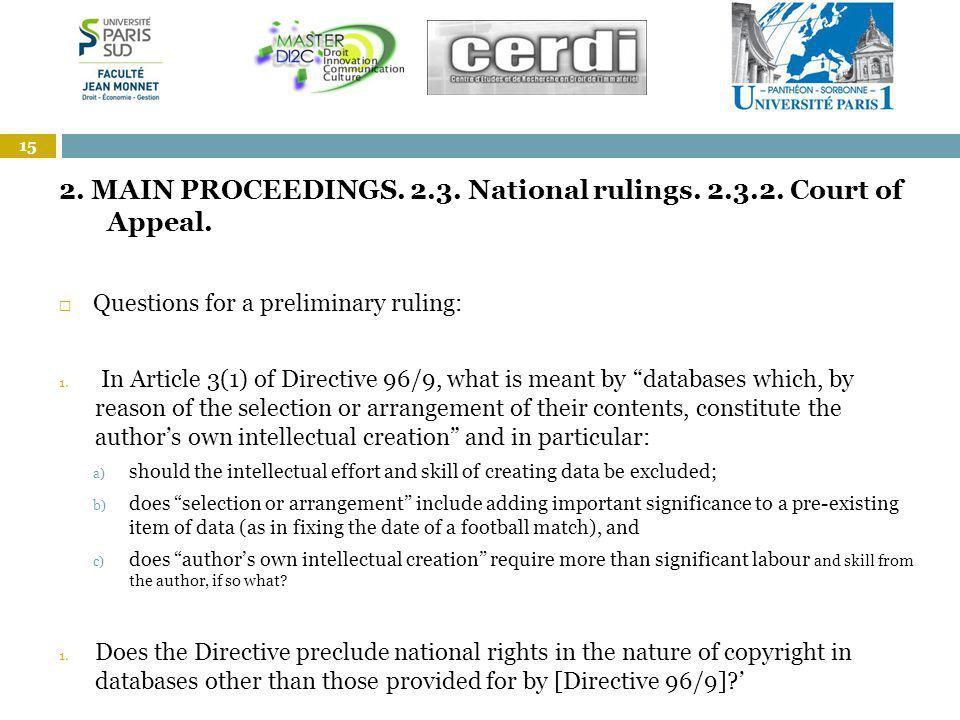 1. 2. MAIN PROCEEDINGS. 2.3. National rulings.