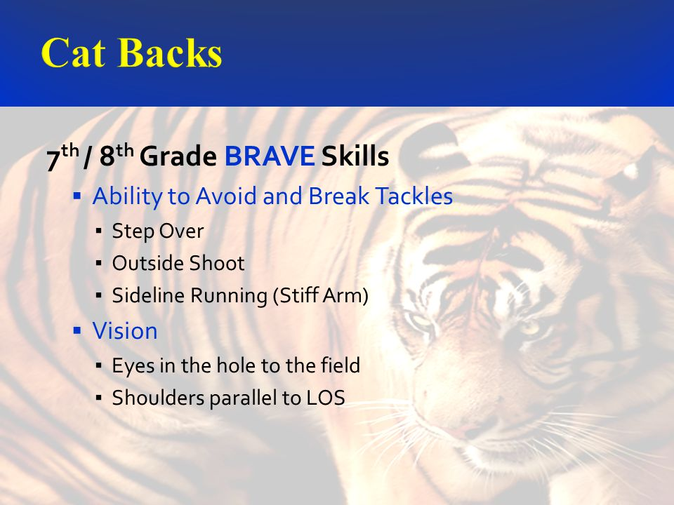 7 th / 8 th Grade BRAVE Skills Ability to Avoid and Break Tackles Step Over Outside Shoot Sideline Running (Stiff Arm) Vision Eyes in the hole to the field Shoulders parallel to LOS