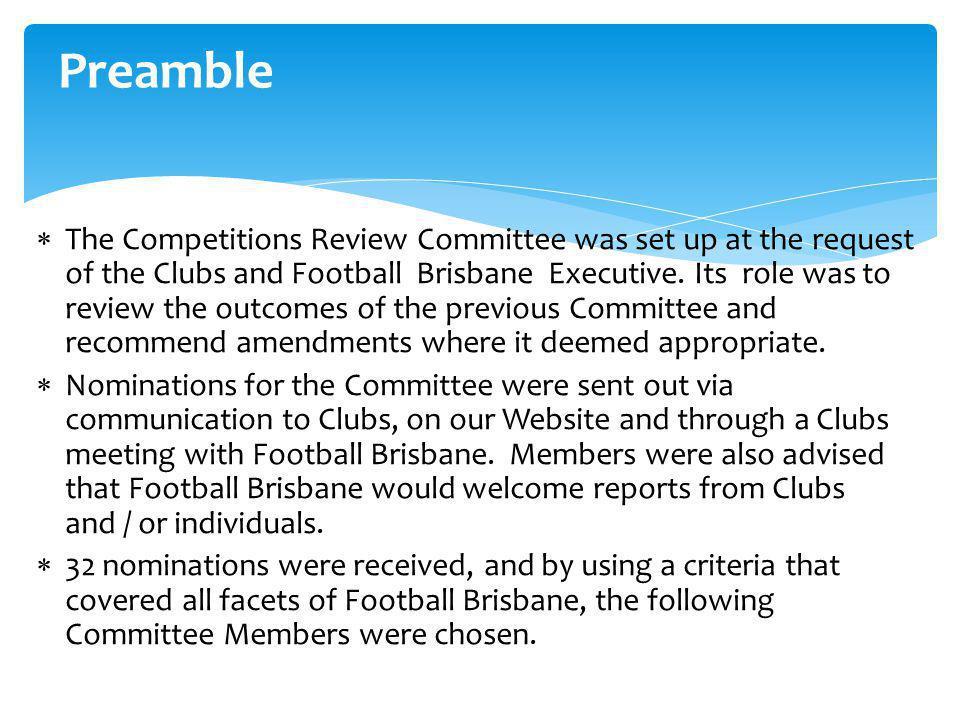 Competitions Review Committee Report 4 September, 2013 Mike Quarmby
