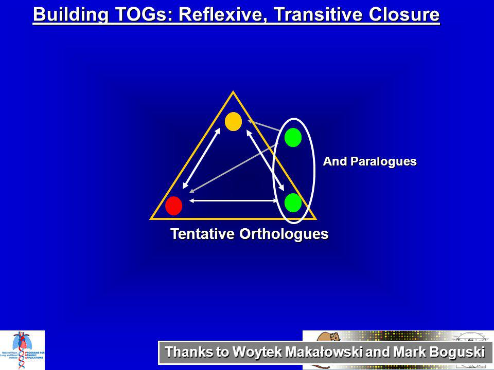 Tentative Orthologues And Paralogues Building TOGs: Reflexive, Transitive Closure Thanks to Woytek Makałowski and Mark Boguski