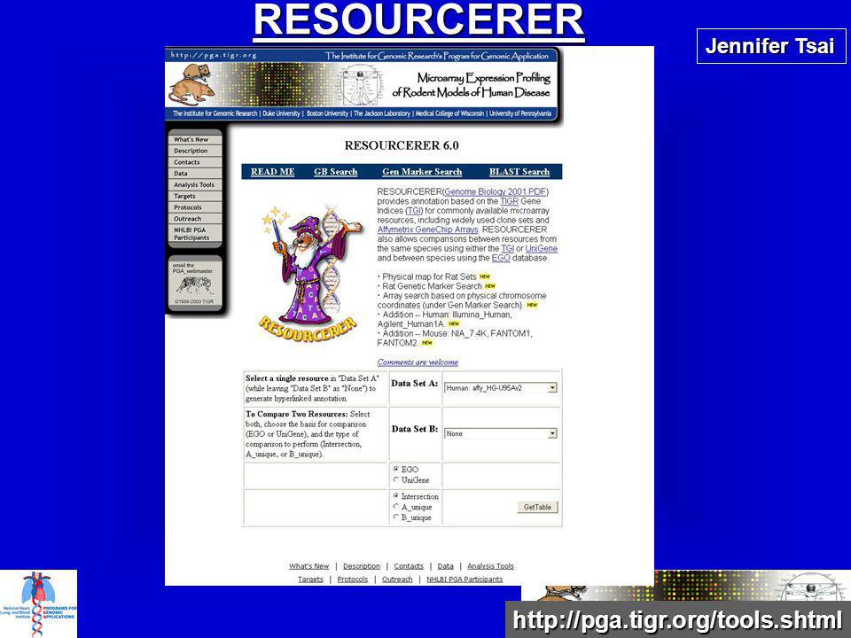 http://pga.tigr.org/tools.shtml RESOURCERER Jennifer Tsai