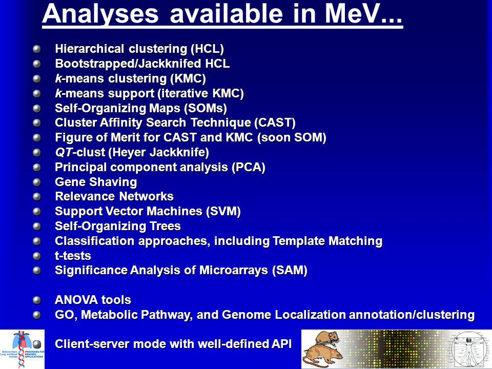 Analyses available in MeV...