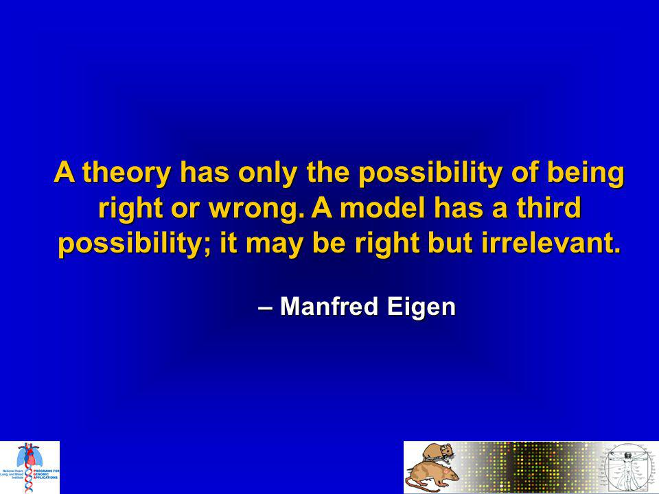 A theory has only the possibility of being right or wrong.