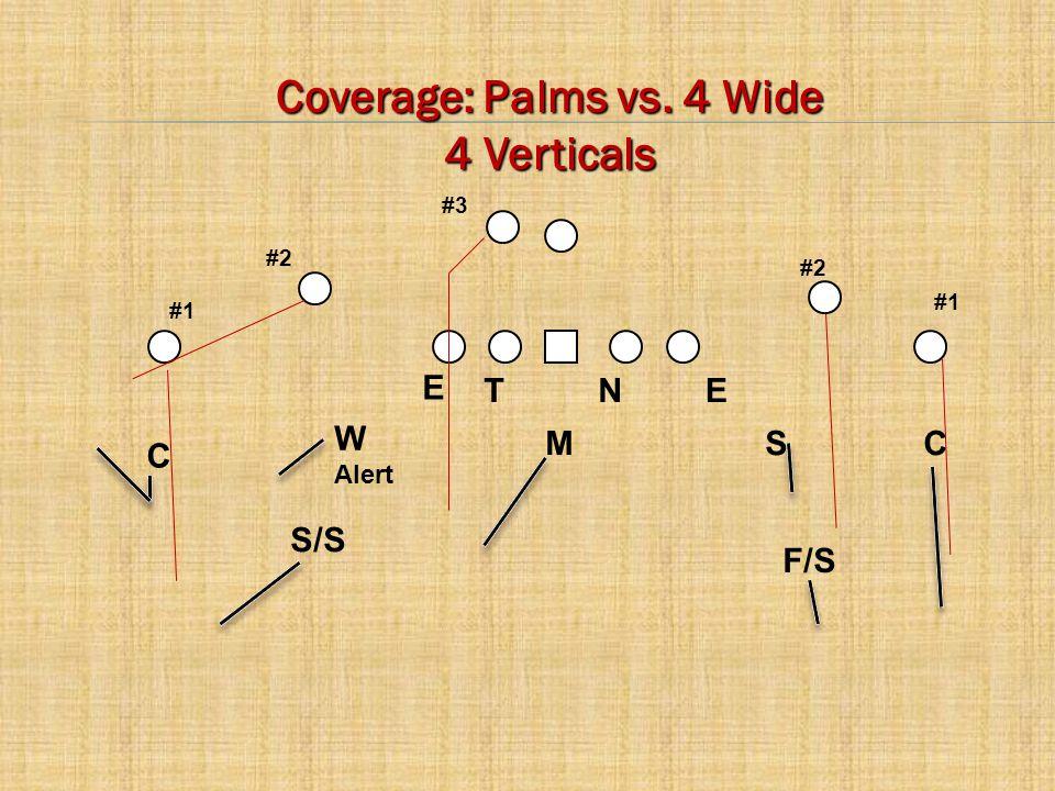 C E CM W Alert S NTE #2 #1 #3 F/S S/S Coverage: Palms vs. 4 Wide 4 Verticals