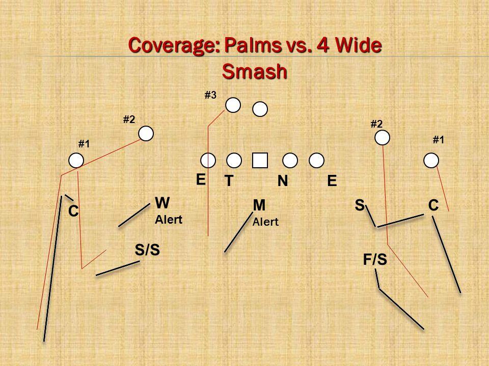 C E CM Alert W Alert S NTE #2 #1 #3 F/S S/S Coverage: Palms vs. 4 Wide Smash