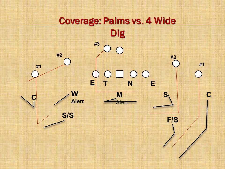 C E CM Alert W Alert S NTE #2 #1 #3 F/S S/S Coverage: Palms vs. 4 Wide Dig