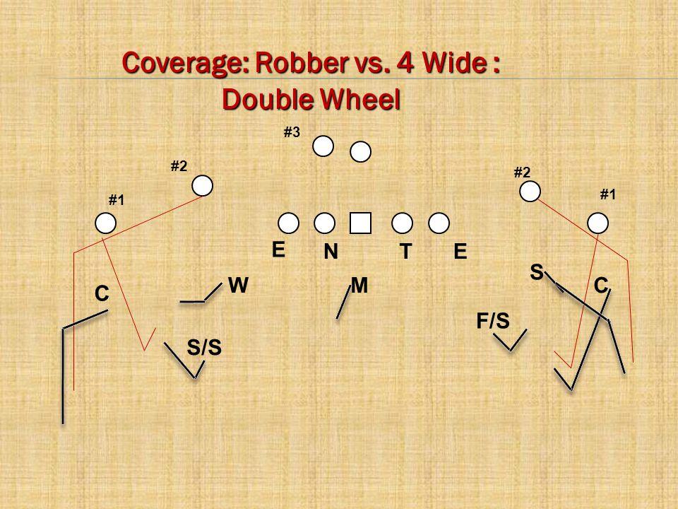 C E CM W S TNE #2 #1 #3 F/S S/S Coverage: Robber vs. 4 Wide : Double Wheel