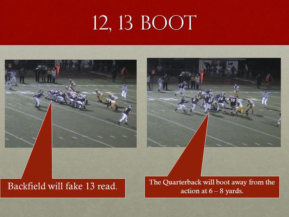 12, 13 Boot Backfield will fake 13 read.
