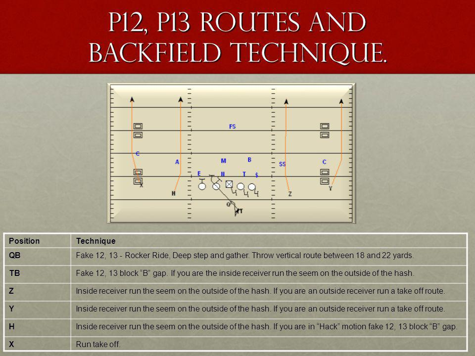 P12, P13 Routes and Backfield Technique.