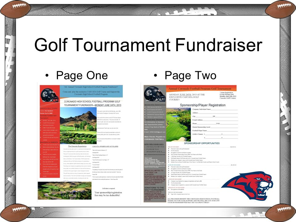 Golf Tournament Fundraiser Page OnePage Two