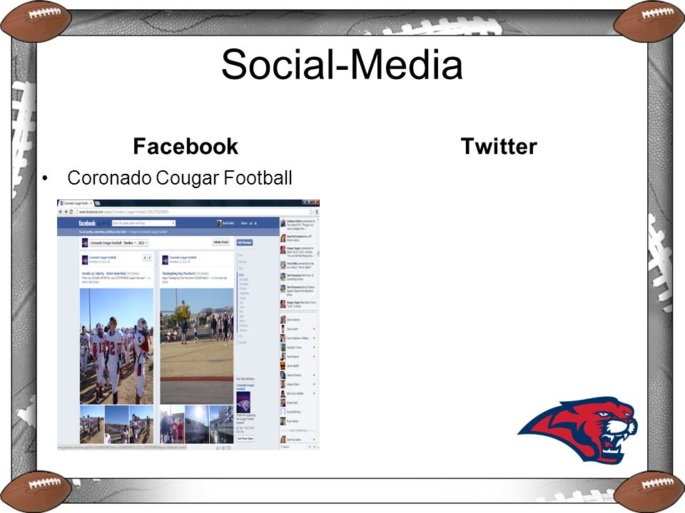 Social-Media Facebook Coronado Cougar Football Twitter
