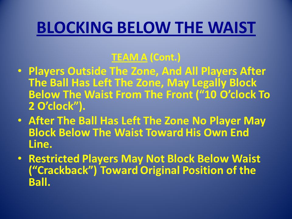 BLOCKING BELOW THE WAIST TEAM A (Cont.) Players Outside The Zone, And All Players After The Ball Has Left The Zone, May Legally Block Below The Waist From The Front (10 Oclock To 2 Oclock).