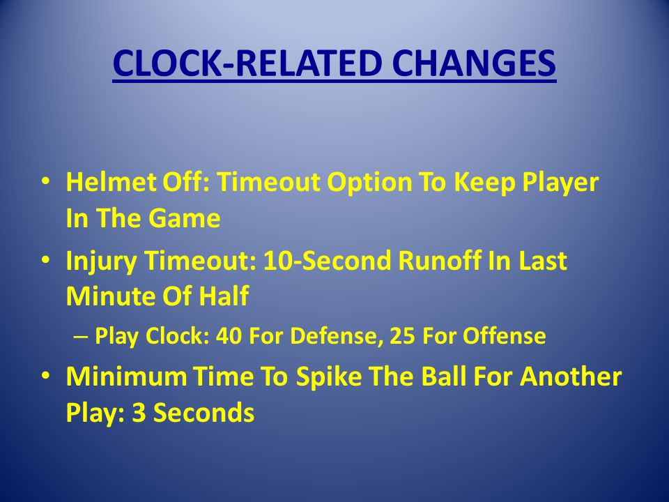CLOCK-RELATED CHANGES Helmet Off: Timeout Option To Keep Player In The Game Injury Timeout: 10-Second Runoff In Last Minute Of Half – Play Clock: 40 For Defense, 25 For Offense Minimum Time To Spike The Ball For Another Play: 3 Seconds