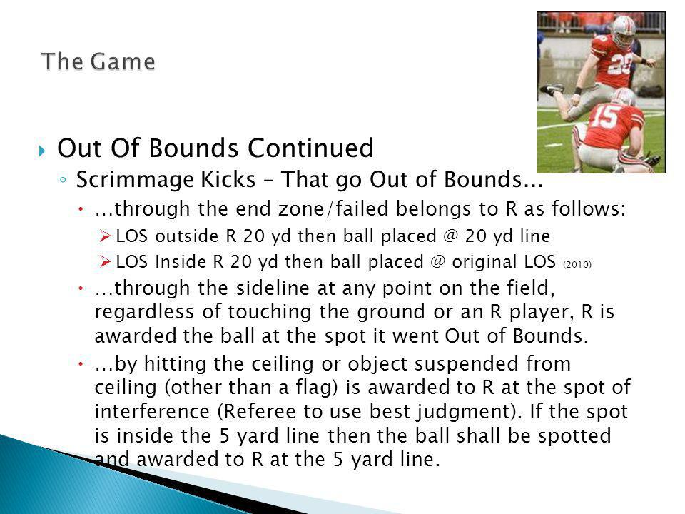 Out Of Bounds Continued Scrimmage Kicks – That go Out of Bounds...