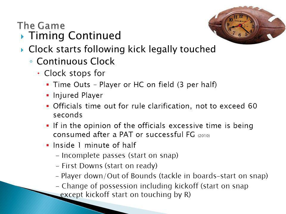 Overtime Overtime Rules Two Minute Intermission following regulation Coin Toss – Captains visitors call- winning team choice Offense/Defense or End of field NO CHOICE to DEFER OT begins with a free kick (kickoff) from defensive team free kick line.