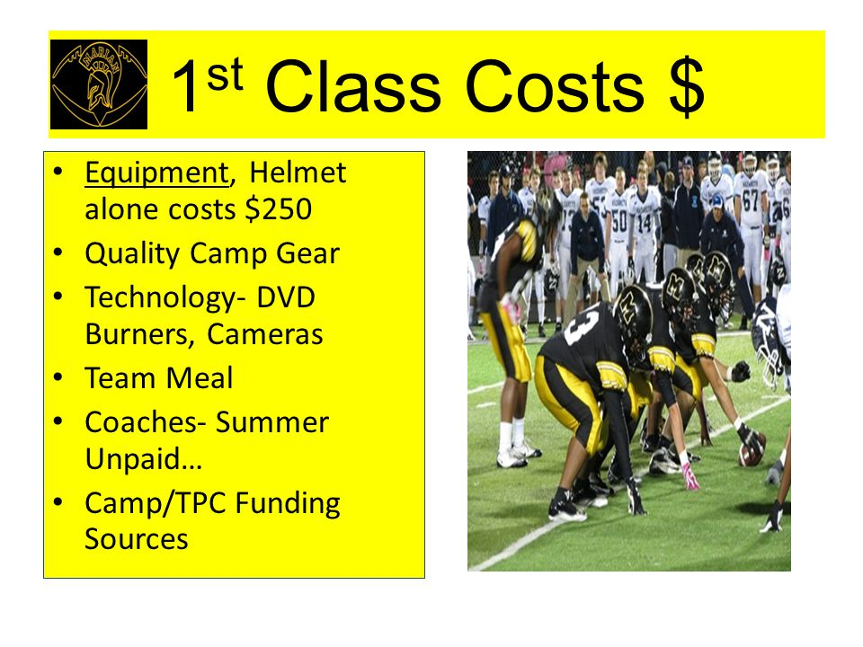 1 st Class Costs $ Equipment, Helmet alone costs $250 Quality Camp Gear Technology- DVD Burners, Cameras Team Meal Coaches- Summer Unpaid… Camp/TPC Fu