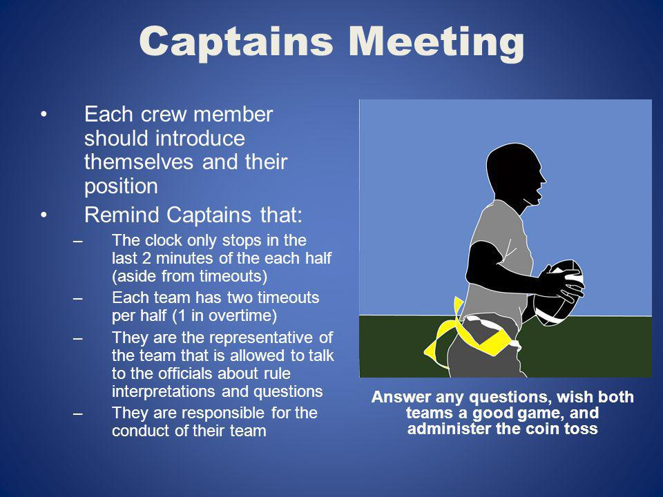 Captains Meeting Each crew member should introduce themselves and their position Remind Captains that: –The clock only stops in the last 2 minutes of