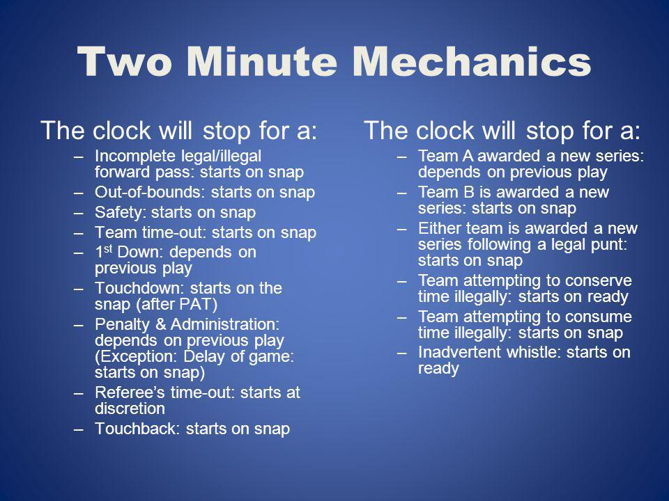 Two Minute Mechanics The clock will stop for a: –Incomplete legal/illegal forward pass: starts on snap –Out-of-bounds: starts on snap –Safety: starts