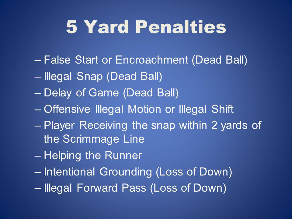 5 Yard Penalties –False Start or Encroachment (Dead Ball) –Illegal Snap (Dead Ball) –Delay of Game (Dead Ball) –Offensive Illegal Motion or Illegal Sh