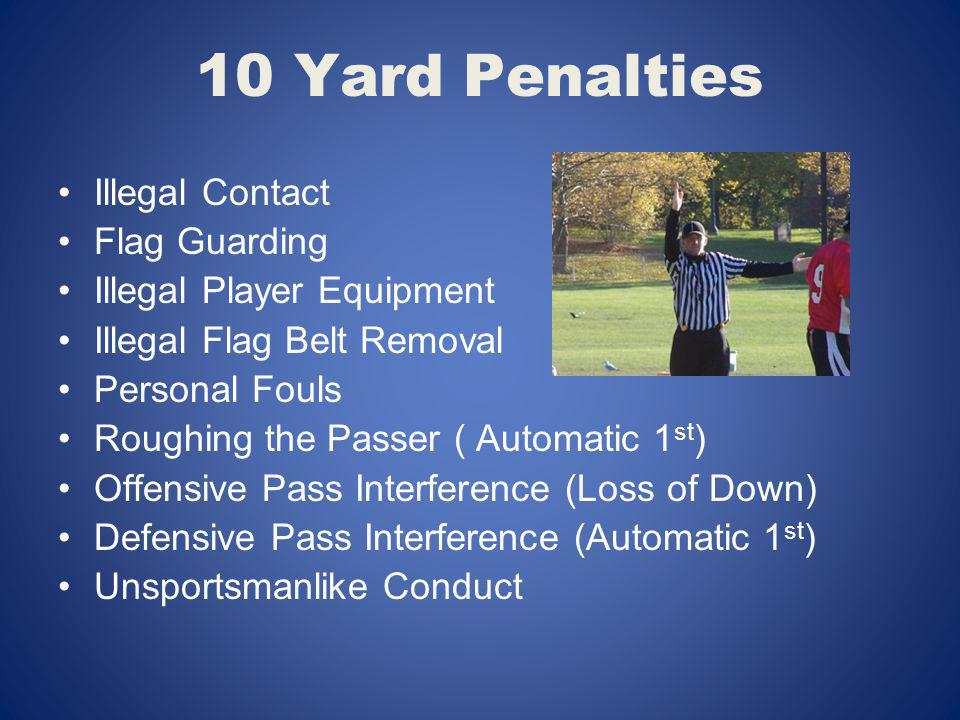10 Yard Penalties Illegal Contact Flag Guarding Illegal Player Equipment Illegal Flag Belt Removal Personal Fouls Roughing the Passer ( Automatic 1 st