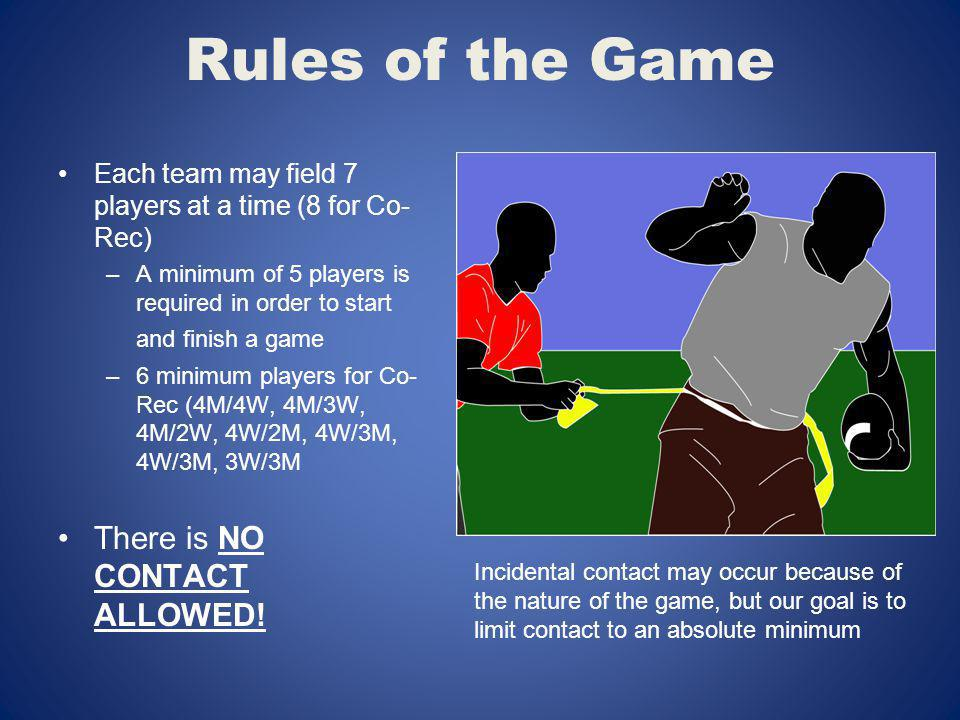 Rules of the Game Each team may field 7 players at a time (8 for Co- Rec) –A minimum of 5 players is required in order to start and finish a game –6 m